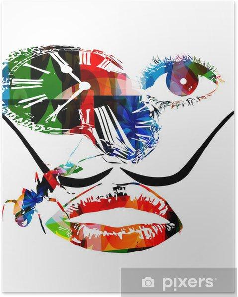 Plakat Salvador Dali Inspirowane Grafika Wektorowa
