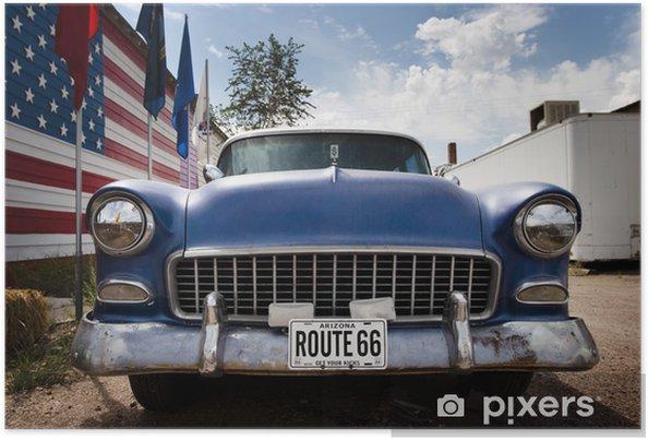 Plakat Samochód i flaga USA - Niebo