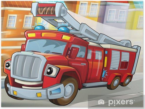 Plakat Samochód pożarniczy do ratownictwa-ilustracja dla dzieci - Transport drogowy