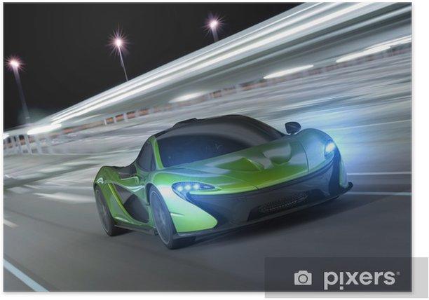 Plakat Samochód wyścigowy w nocy -