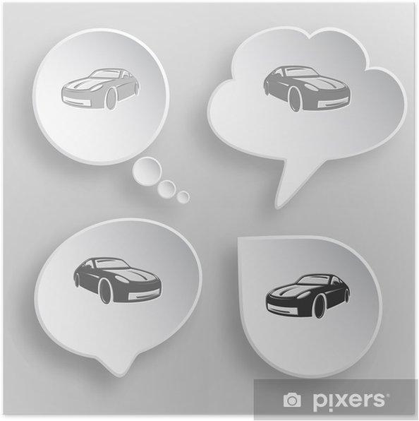Plakat Samochodów. Białe płaskie przyciski wektorowe na szarym tle. - Znaki i symbole
