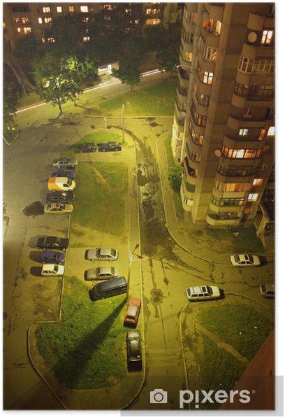 Plakat Samochody noc z góry - Azja