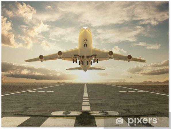 Plakat Samolot Startuje O Zachodzie Słońca