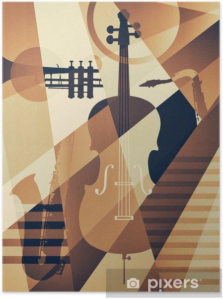 Plakat samoprzylepny Abstrakcyjny plakat jazzowy, tło muzyczne - Hobby i rozrywka