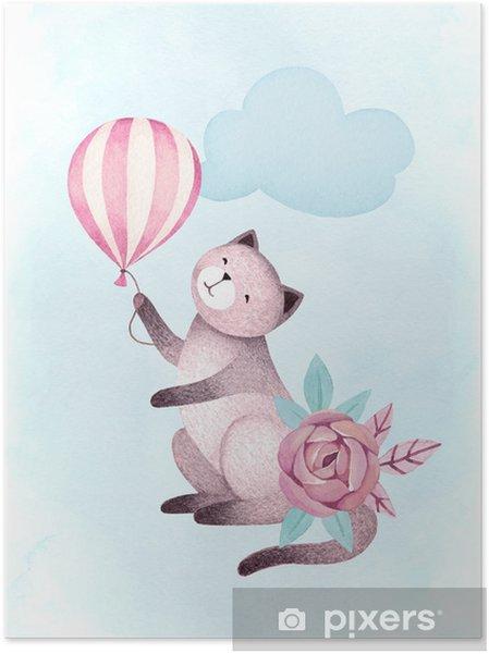 Plakat samoprzylepny Akwarela ilustracje kota i kwiatów - Zasoby graficzne