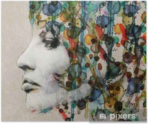 Plakat samoprzylepny Akwarela kobiet profil - Style
