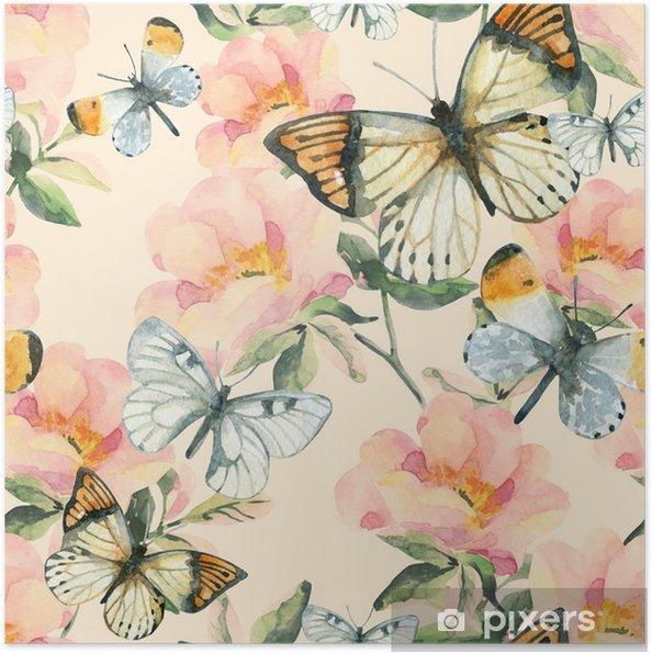 Plakat samoprzylepny Akwarela kwiaty briar i motyl wzór. oddziałów róży psa w stylu vintage - Rośliny i kwiaty