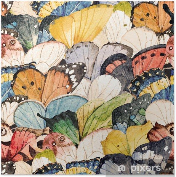 Plakat samoprzylepny Akwarela motyl wzór - Zwierzęta