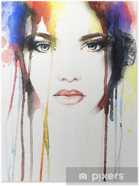 Plakat samoprzylepny Akwarela portret kobiety .abstract - Ludzie