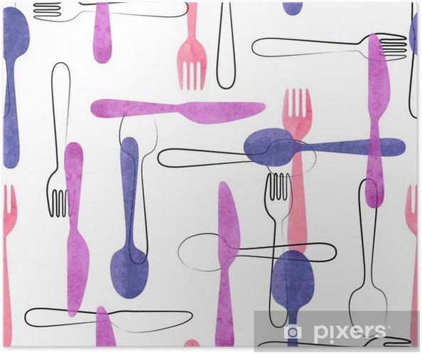 Plakat samoprzylepny Akwarela sztućce szwu w różowe i fioletowe kolory. Wektor tła z łyżki, widelce i noże. - Jedzenie