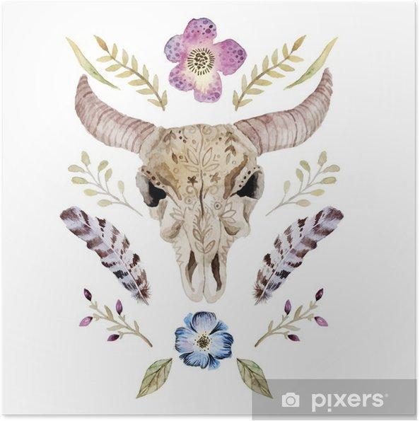 Plakat samoprzylepny Akwarele ilustracji wektorowych boho z czaszką - Zasoby graficzne