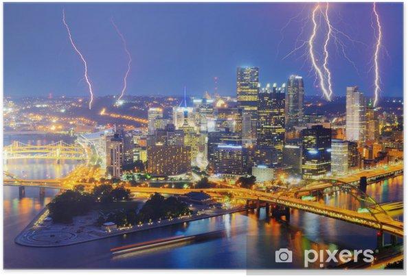 Plakat samoprzylepny Błyskawica w centrum Pittsburgh - Ameryka