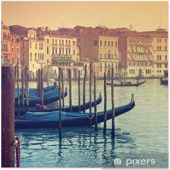 Plakat samoprzylepny Canal Grande i gondole - Tematy