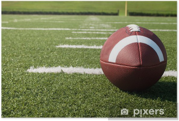 Plakat samoprzylepny Closeup z American Football na pole - Football amerykański