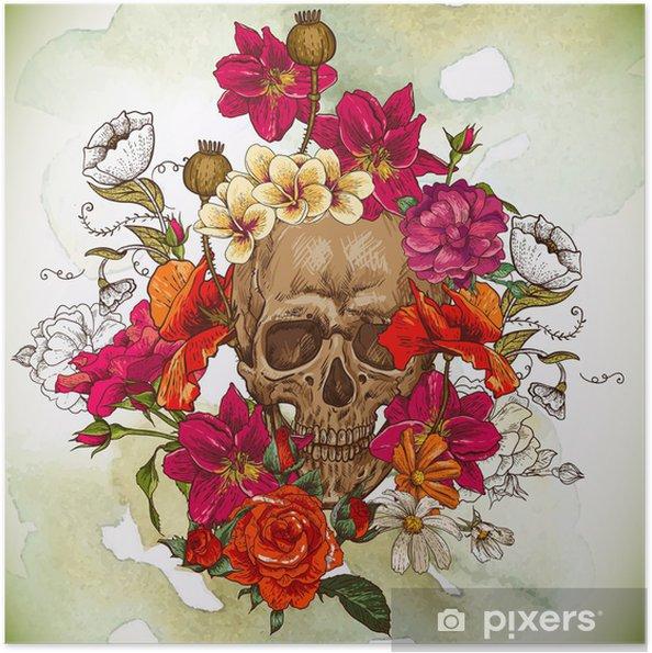 Plakat samoprzylepny Czaszki i kwiaty dzień żyje - Kwiaty