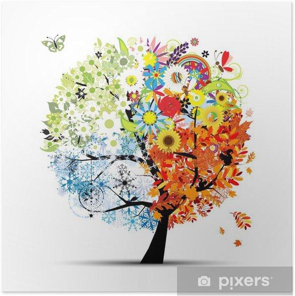 Plakat samoprzylepny Cztery pory roku - wiosna, lato, jesień, zima. Drzewo sztuki - Tematy