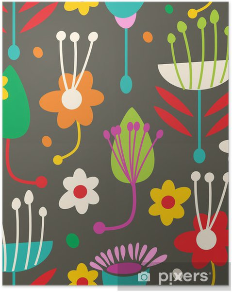 Plakat samoprzylepny Doodle bez szwu kwiatowy wzór - Tła