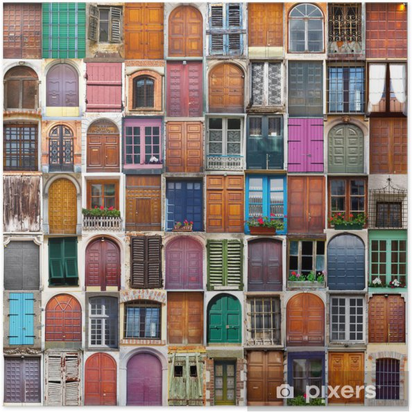 Plakat samoprzylepny Drzwi i okna, collage - Przeznaczenia