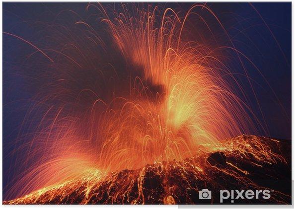 Plakat samoprzylepny Erupcji wulkanu Stromboli erupcji nocy - Klęski żywiołowe