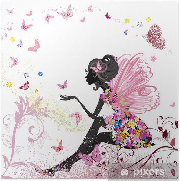 Plakat samoprzylepny Flower Fairy w otoczeniu motyli - Style