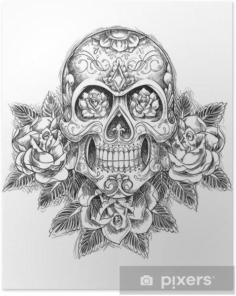 Plakat samoprzylepny Fragmentaryczna czaszka z różami - Sztuka i twórczość