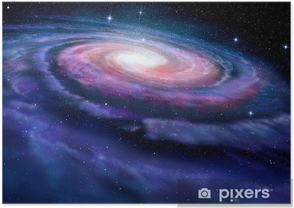 Plakat samoprzylepny Galaktyka spiralna, Ilustracja Drogi Mlecznej - Gwiazdy