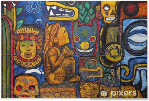 Plakat samoprzylepny Graffiti na ścianie w Meksyku - Tematy