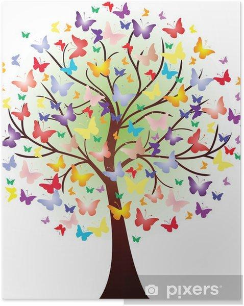 Plakat samoprzylepny Grafika piękna wiosna, składający się z motylami - Naklejki na ścianę