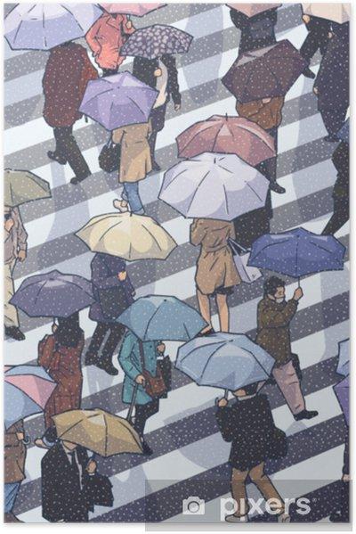 Plakat samoprzylepny Ilustracja ludzi miasta przekraczania zebra w śniegu z parasolami z wysokiego kąta widzenia w kolorze - Ludzie