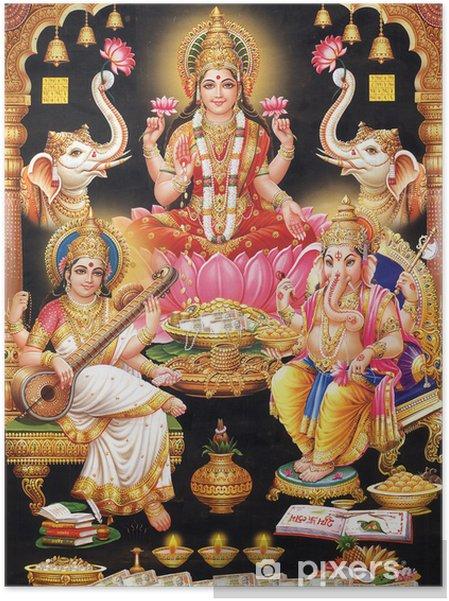 Plakat samoprzylepny Indyjska bogini Lakshmi z maa MAA Saraswati i Ganesh ji - Budynki użyteczności publicznej
