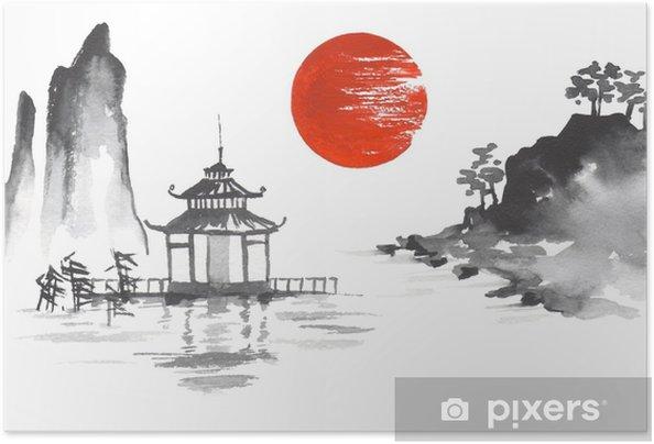 Plakat samoprzylepny Japonia tradycyjny japoński obraz sumi-e sztuka słońce jezioro rzeka wzgórze świątynia góra - Hobby i rozrywka