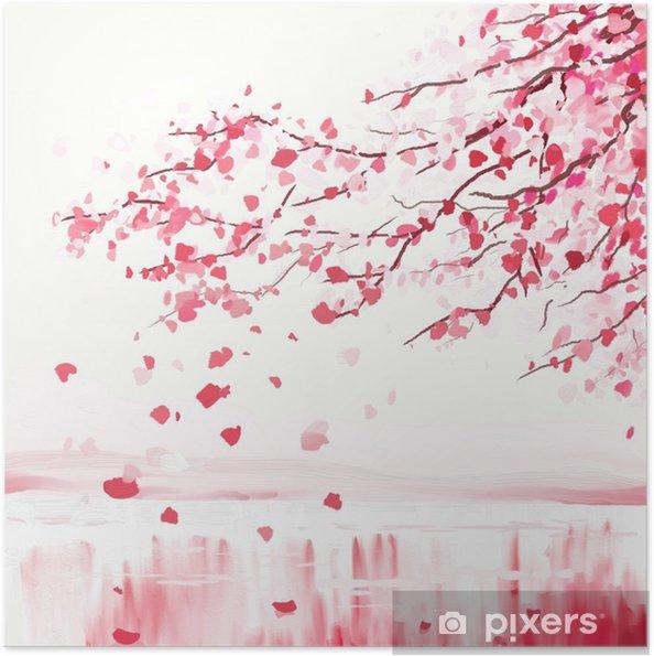 Plakat samoprzylepny Japoński wiśniowe drzewo - Style