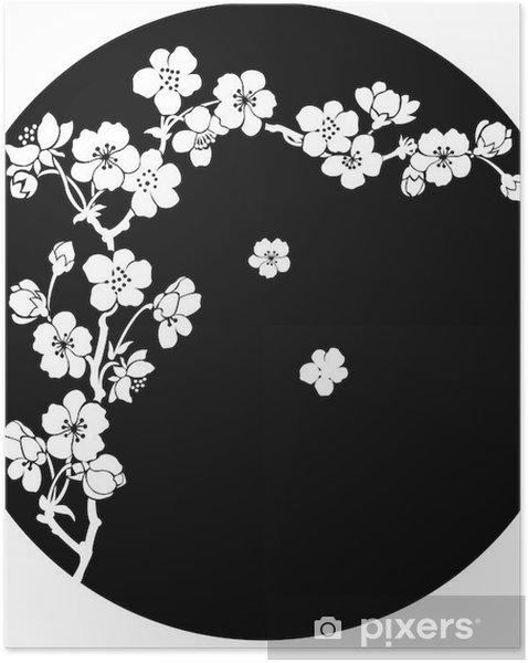 Plakat samoprzylepny Kwitnącej wiśni atramentem - Style