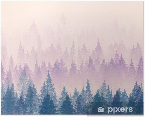 Plakat samoprzylepny Las we mgle. minimalistyczna ilustracja. cyfrowy rysunek. - Krajobrazy