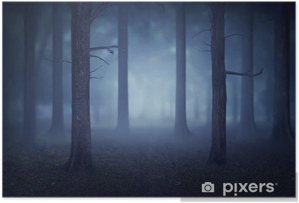 Plakat samoprzylepny Las z mnóstwem drzew i mgły - Krajobrazy