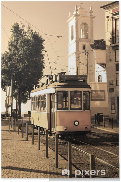 Plakat samoprzylepny Lizbona tramwaj -