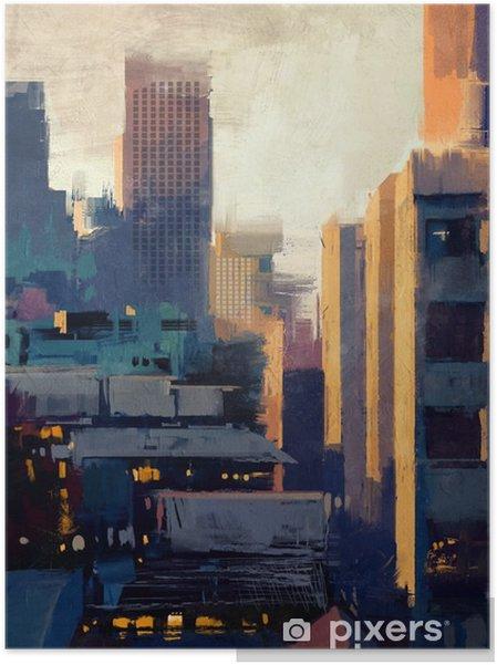 Plakat samoprzylepny Malowanie wieżowców na zachód słońca - Hobby i rozrywka