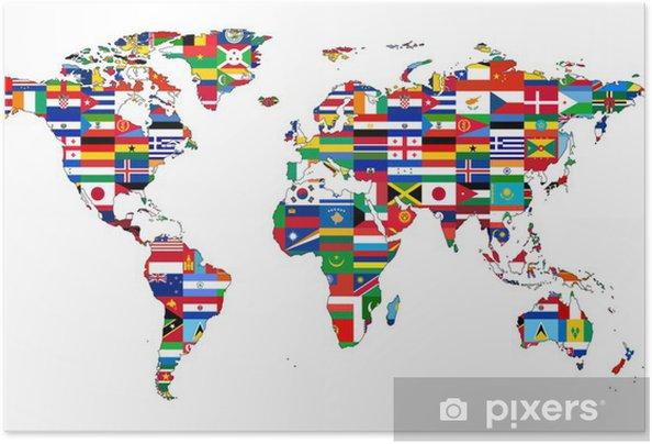 Plakat samoprzylepny Mapa świata z flagami - iStaging