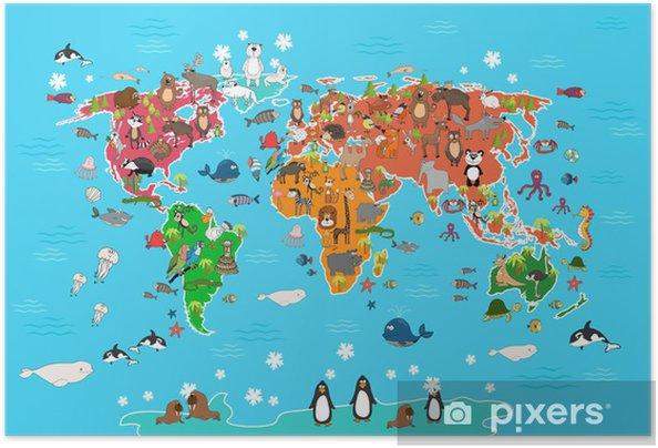 Plakat samoprzylepny Mapa świata ze zwierzętami. Małpa i jeż, niedźwiedź i kangura, zając Wilk panda i pingwinów i papug. Zwierzęta Mapa świata ilustracji wektorowych w stylu kreskówki - Budynki użyteczności publicznej