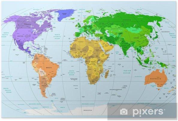 Plakat samoprzylepny Mapa świata - Tematy
