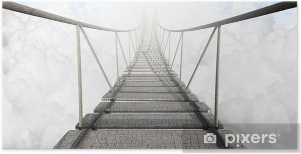 Plakat samoprzylepny Most linowy nad chmurami -