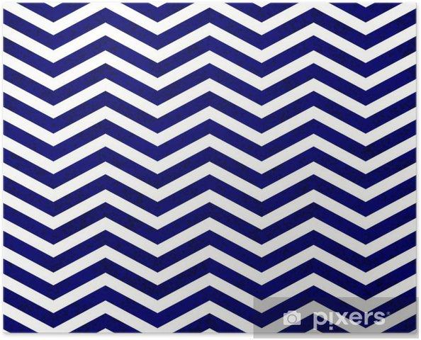 Plakat samoprzylepny Niebieskie tło tkaniny teksturą Zigzag - Style