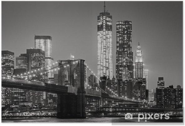 Plakat samoprzylepny Nowy Jork nocą -
