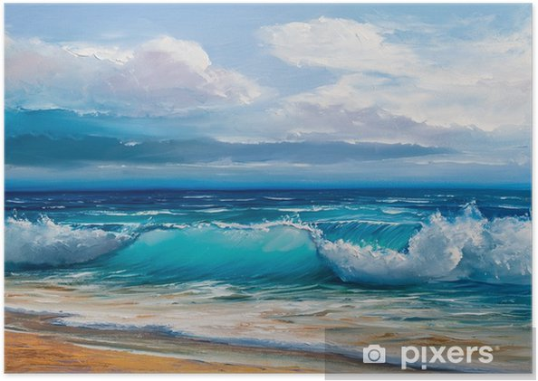 Plakat samoprzylepny Obraz olejny morza na płótnie. - Hobby i rozrywka