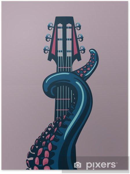 Plakat samoprzylepny Octopus wąs trzyma gitarę riff. - Hobby i rozrywka