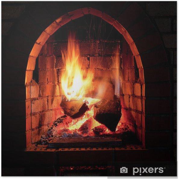 Plakat samoprzylepny Ogień w kominku - Tematy