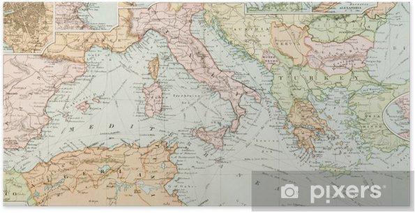 Plakat samoprzylepny Panoramiczny Antique Map - Tematy