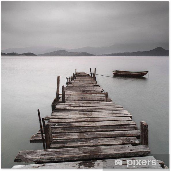 Plakat samoprzylepny Patrząc na molo i łodzi, niskie nasycenie -