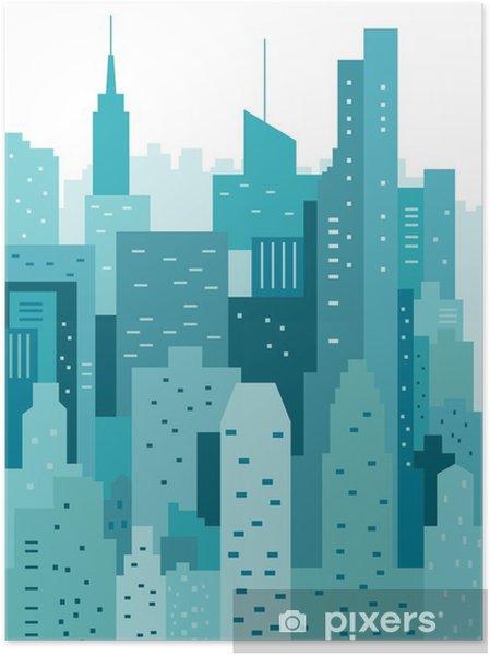 Plakat samoprzylepny Pejzaż geometryczne ilustracji wektorowych. Cityline. Krajobraz miasta - Budynki i architektura