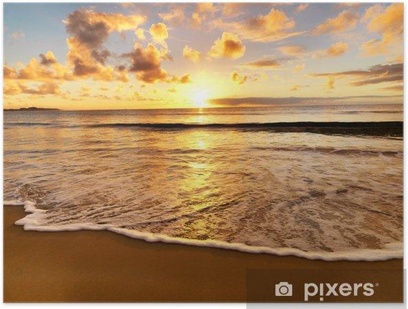 Plakat samoprzylepny Piękny zachód słońca na plaży - Tematy